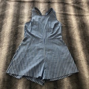 Lush Blue and White Romper with Criss Cross Back
